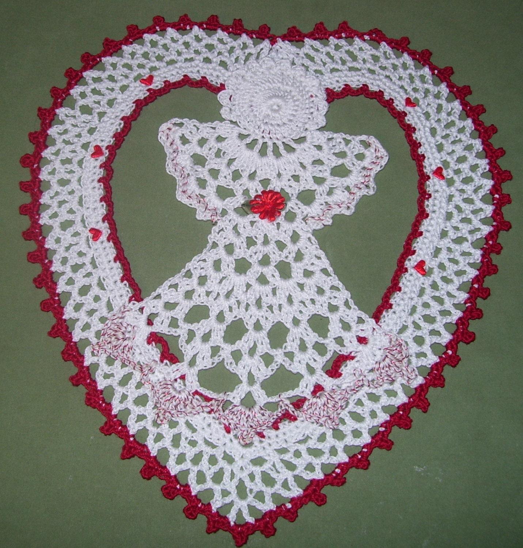 Hand Crochet Angel in Heart Doily New by PoetTreesPromise ...