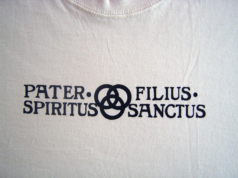 Mens Large Pater Filius Spriritus Sanctus Tshirt