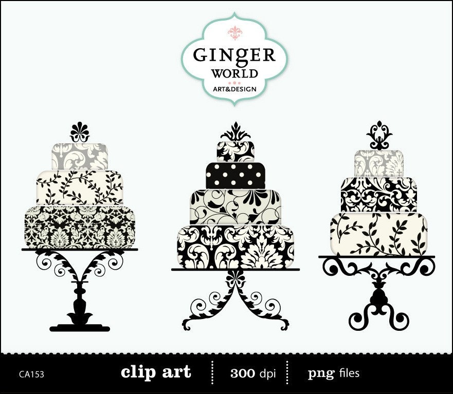 Black damask luxe Wedding Cake clip art digital illustration printable for