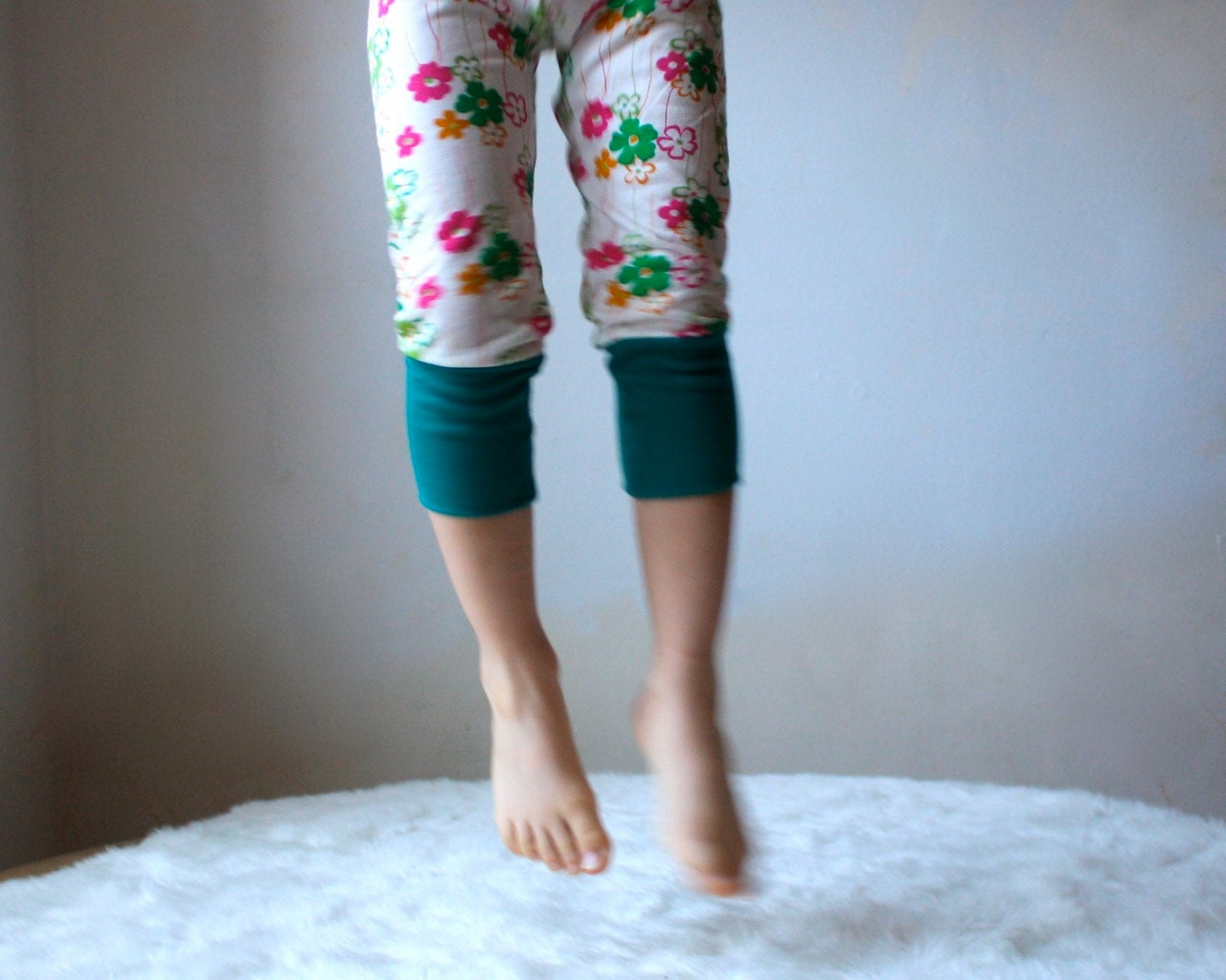 Kids Yoga Leggings Pants White and Flowers with by ...
