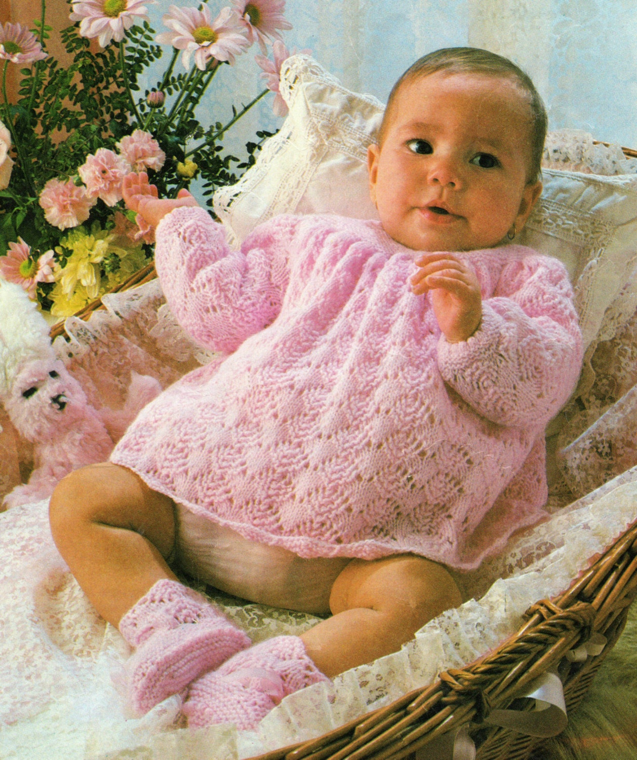 Baby Knitting Pattern  Angel Top and Bootees Set  18  19 inches  4 ply yarn