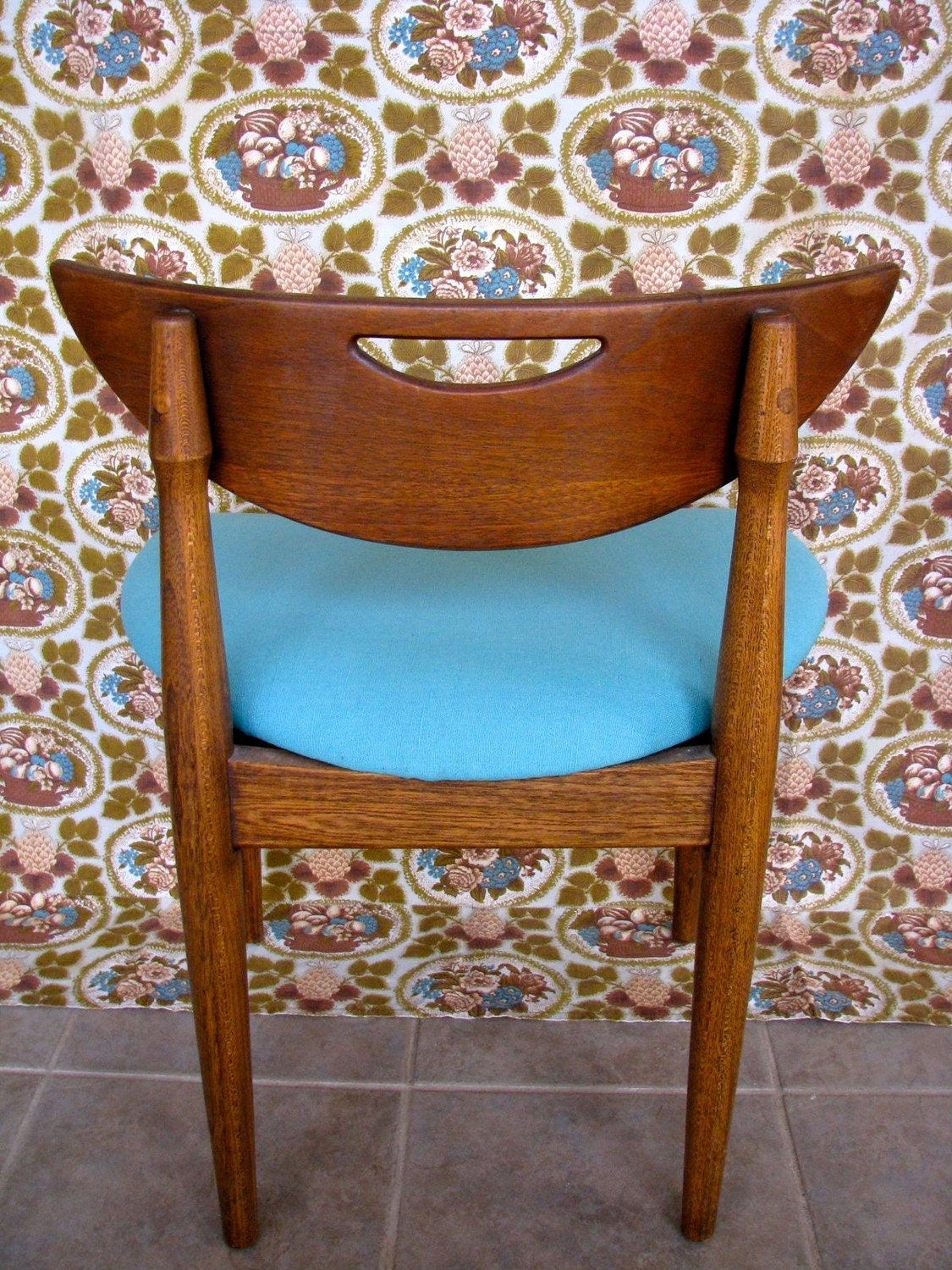 Mid Century Danish Teak Chair with Aqua Seat