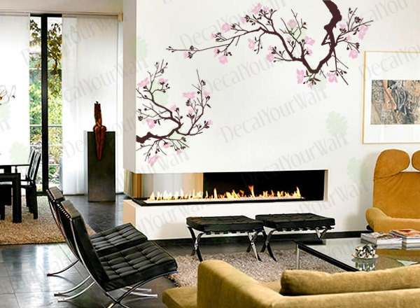 Large Japanese Cherry Blossoms Tree Branches Wall by decalyourwall