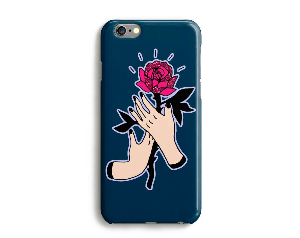 Rose Hand Phone Case iPhone 7 6 6s Plus SE 5 5s 5c glitter flower floral icon phone case Samsung S8 Google Pixel Marine Green