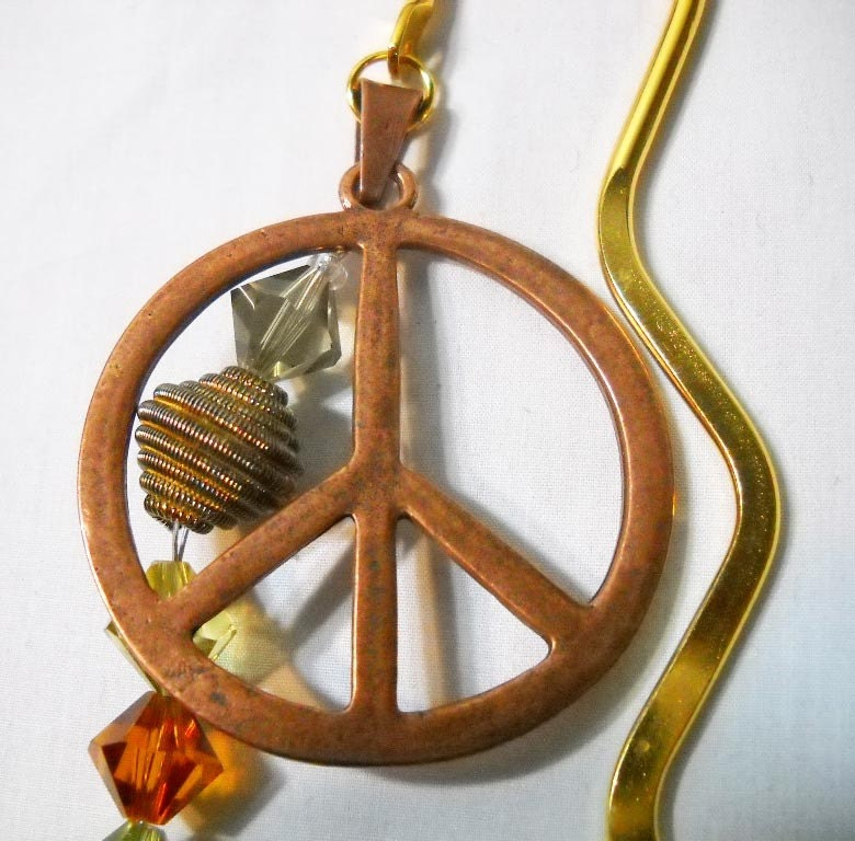 Peace Sign Beaded Gold Bookmark