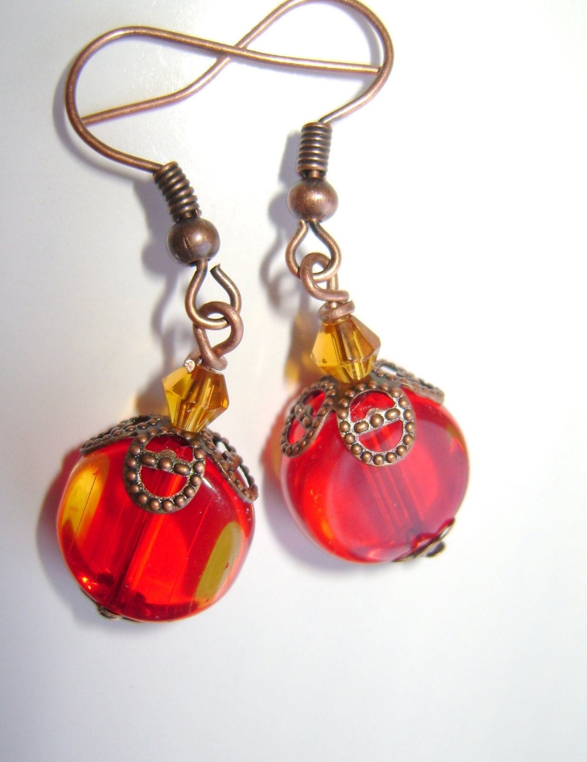 Red Button Bead Earrings