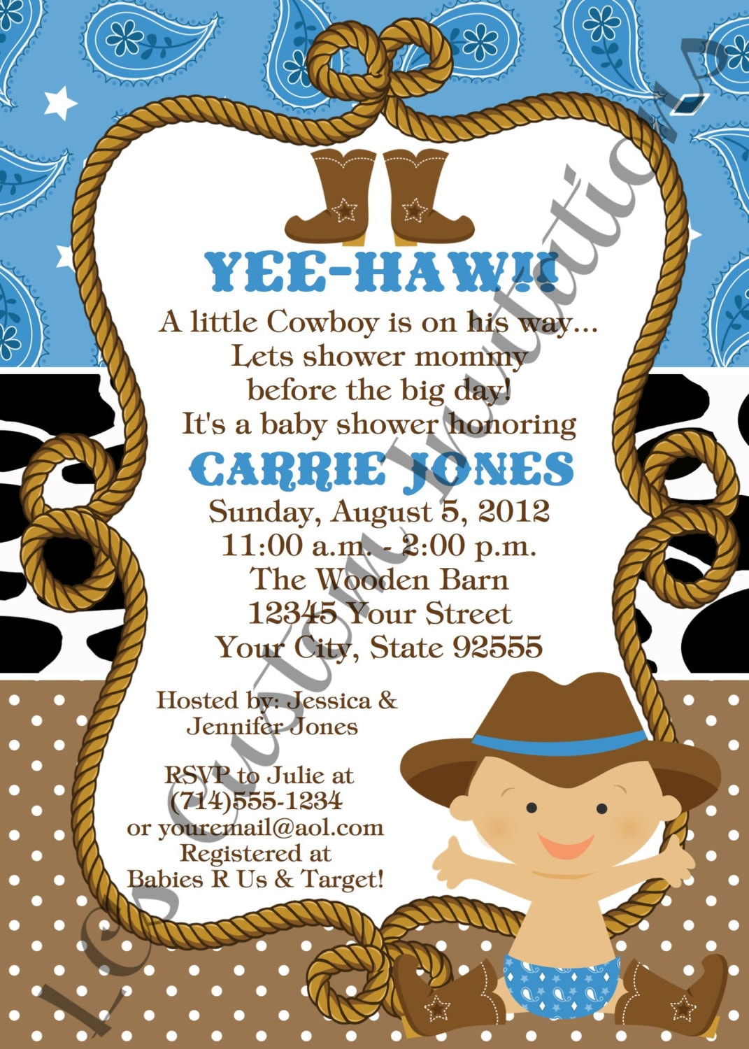 baby cowboy baby shower invitation you by lcscustominvitations