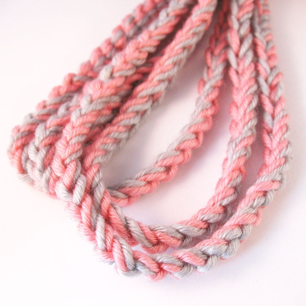 Crochet Chain Infinity Scarf Necklace - Pink and Grey - pulpsushi