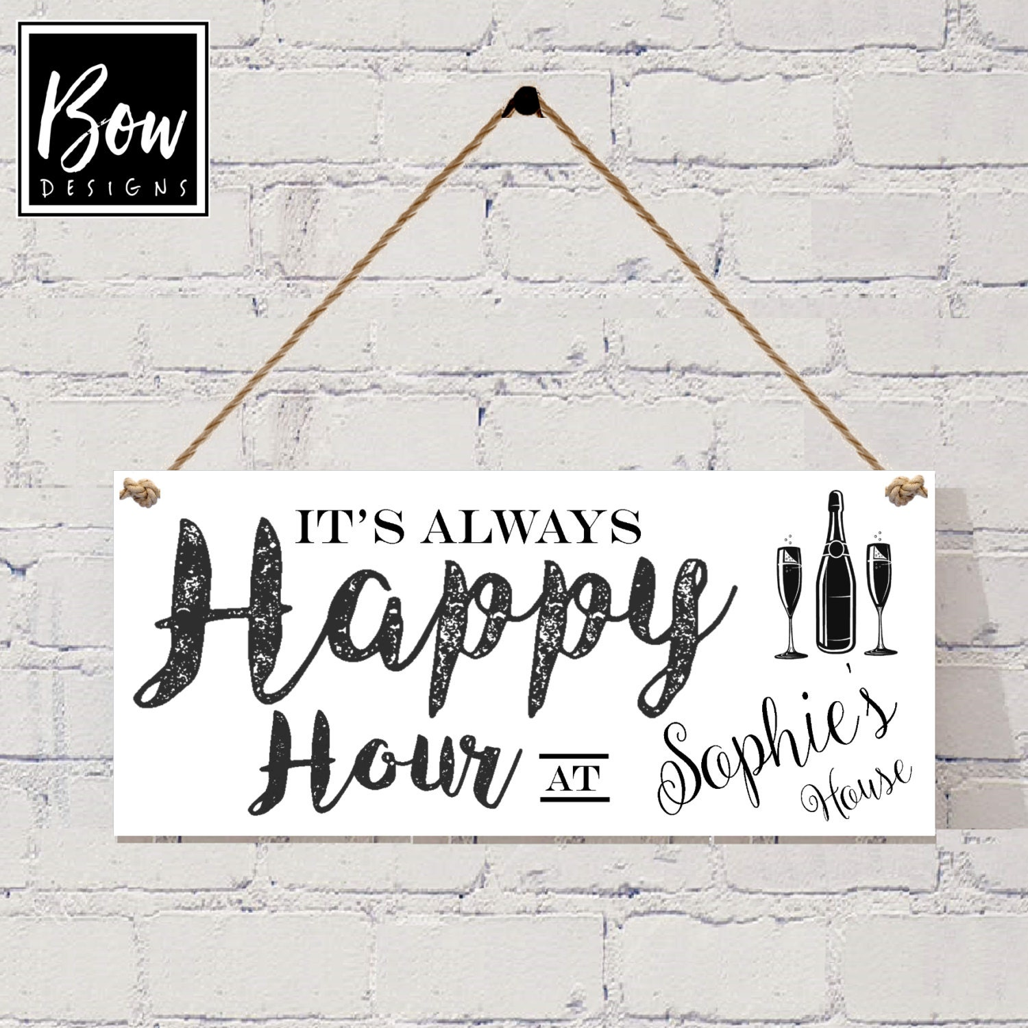 Personalised Happy Hour alcohol sign Grey new home sign alcohol sign