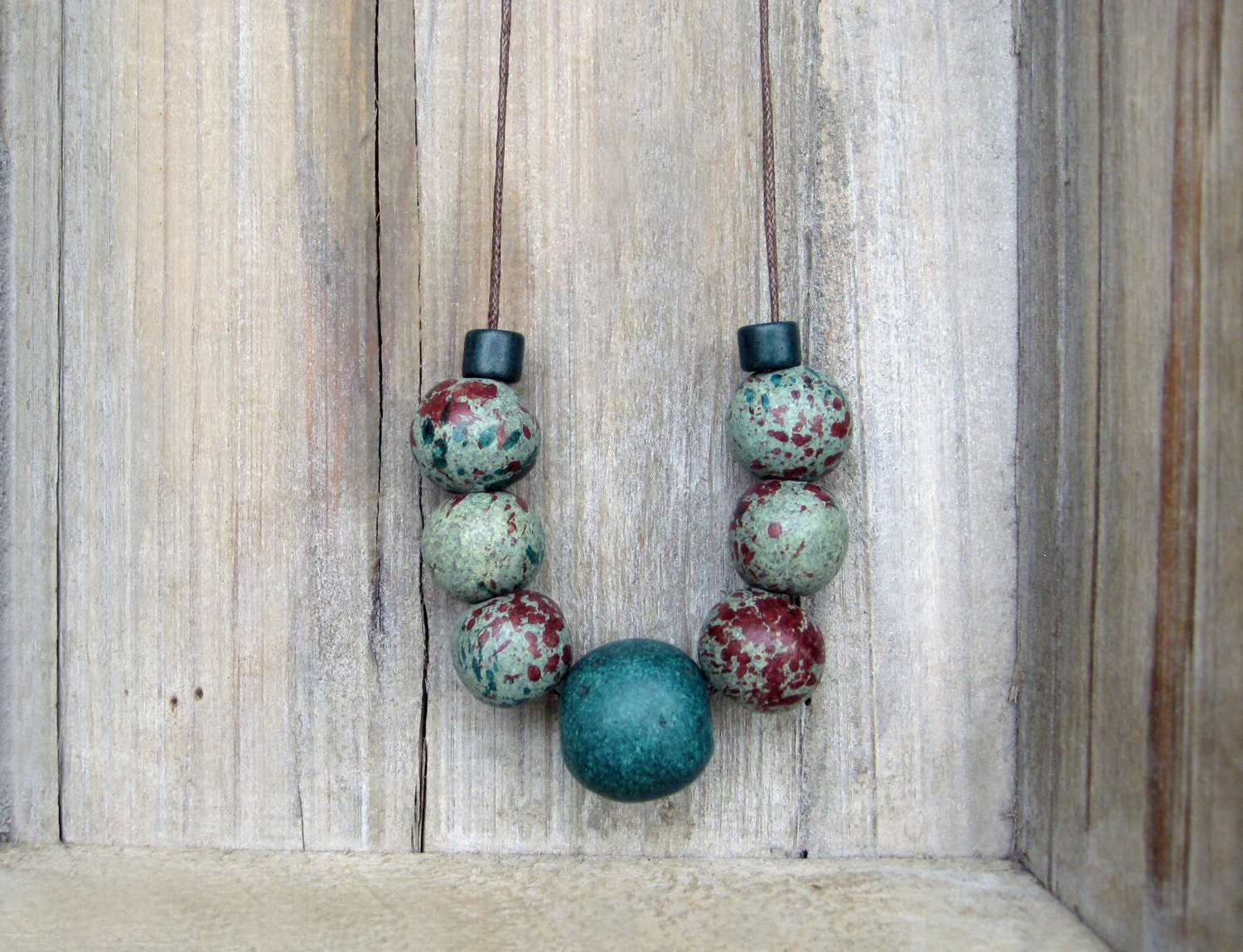 Green robin egg necklace / Ceramic necklace/Green and Brown  necklace - JullMade