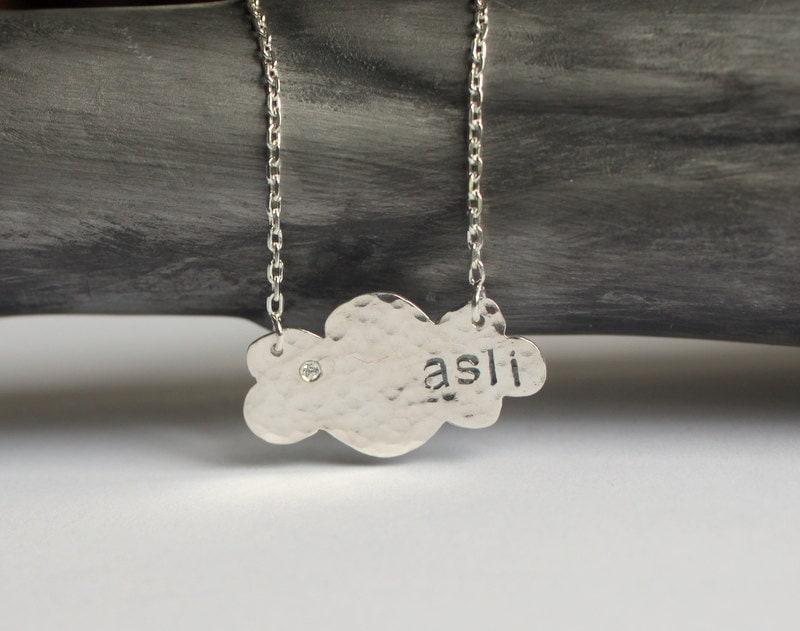 Handstamped Name on Cloud Necklace With Zircon - meltemsem