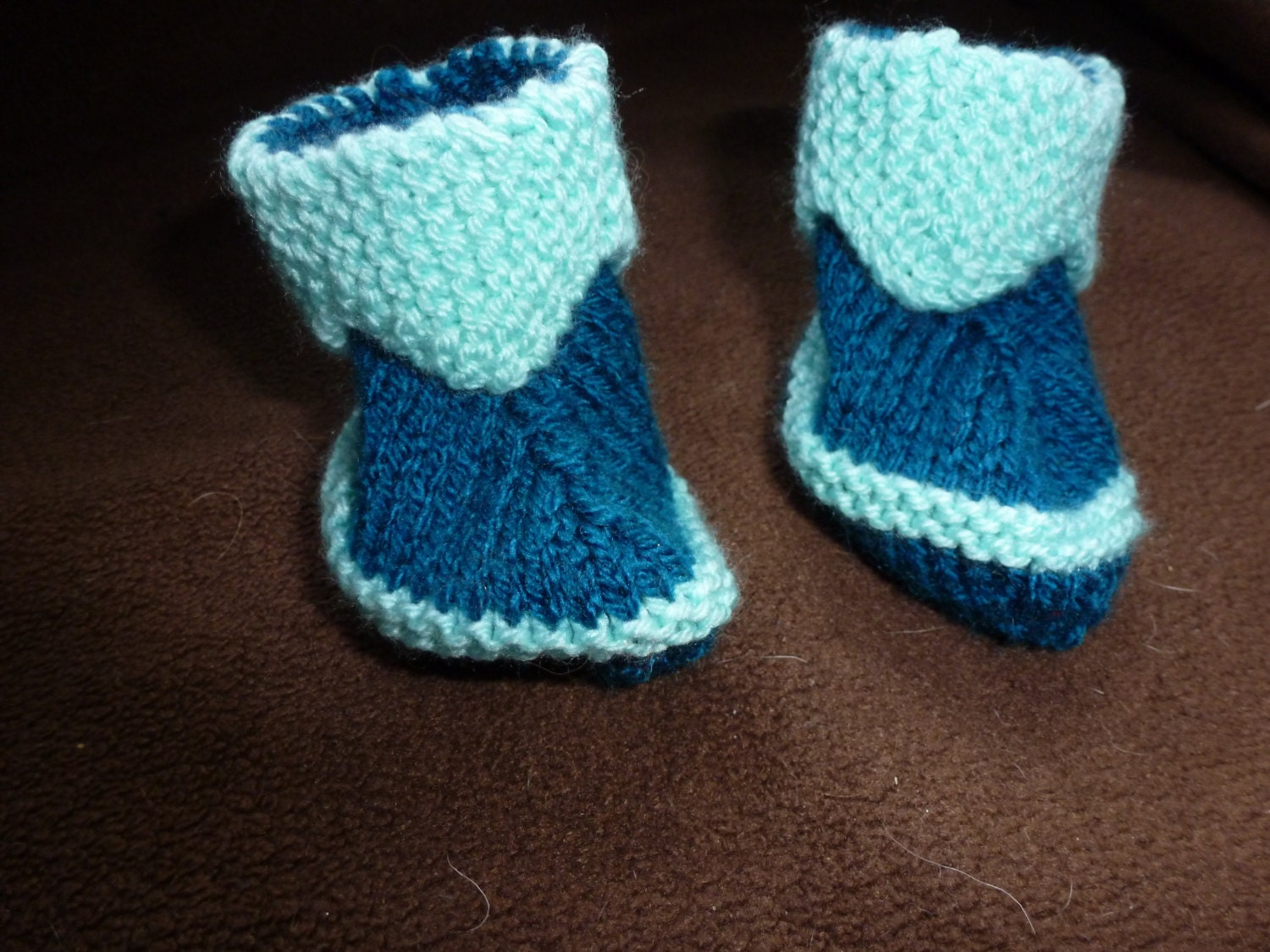 Hand Knitted Baby Booties Pixie Boots to fit Newborn Baby