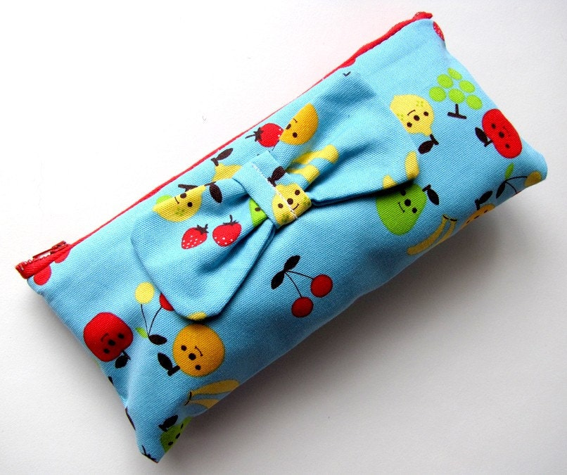 Back To School CUTE Bow Pencil Case Decole Fruits
