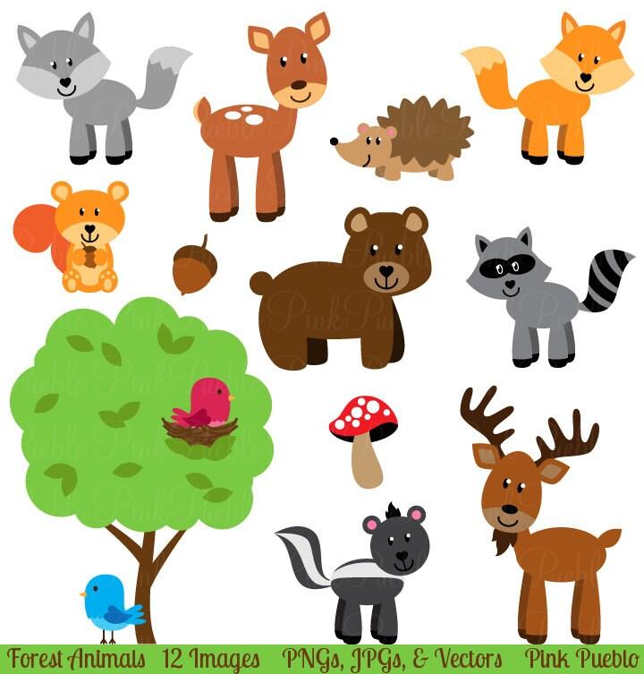 Forest Animals Clip Art Clipart Woodland Animals by PinkPueblo