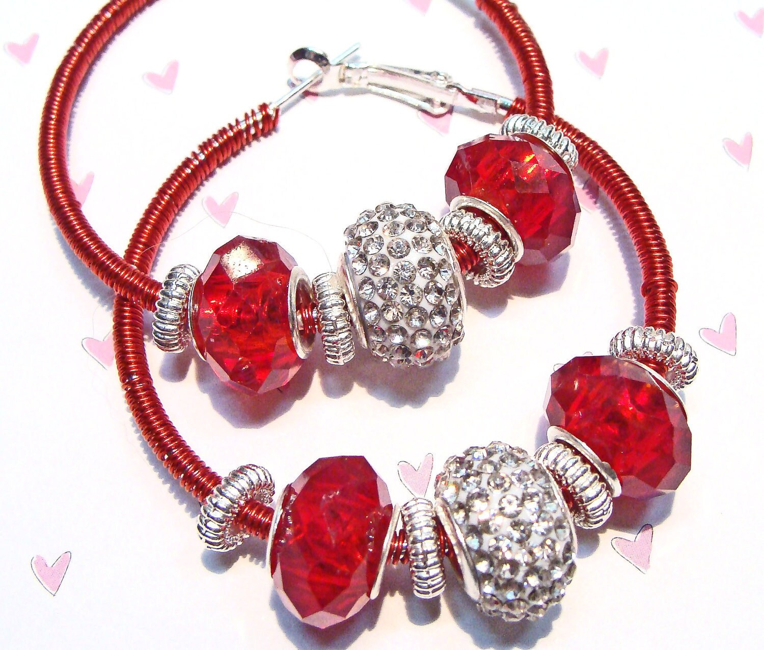 Hoop Earrings on Red Wire Wrapped Hoop Earrings With Crystals And European Large Hole