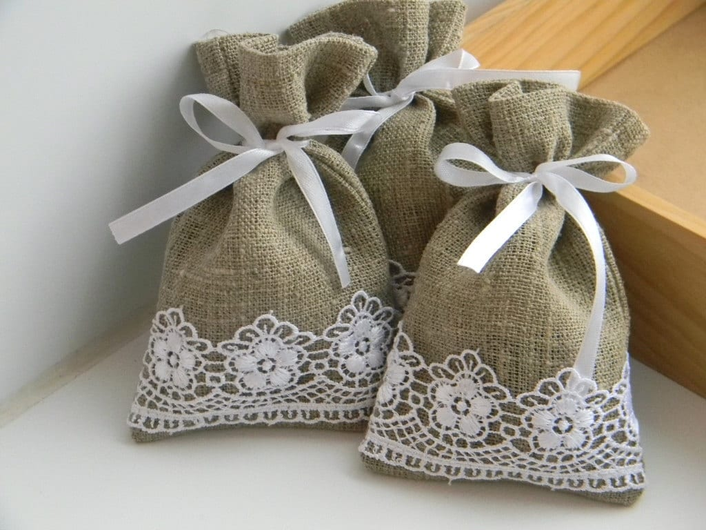 Wedding Gift Ideas On Etsy : SET OF 20 Natural Rustic Linen Wedding Favor Bag by WeddingForYou