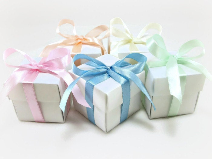 Wedding Favor Candy Boxes AND Satin Ribbon, Bridal Shower Favor, Baby Shower, Wedding Gift Box, Party Favor, DIY Wedding Favor - 25 pcs - LenasCakes