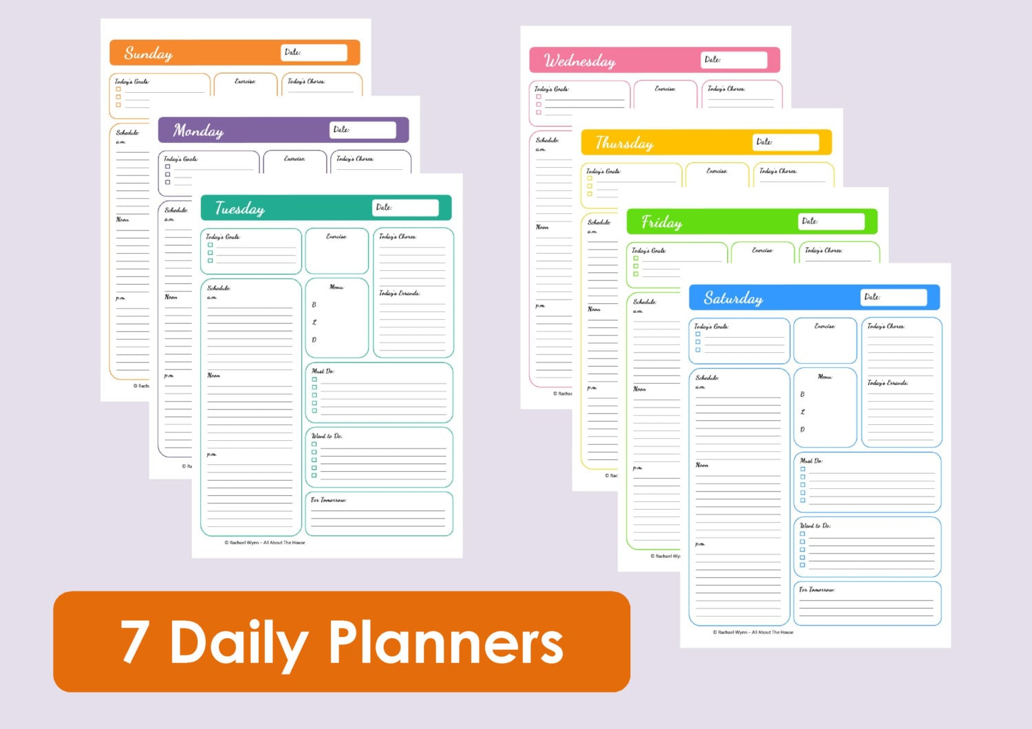MULTICOLOURED Printable Daily Planners Time by AllAboutTheHouse