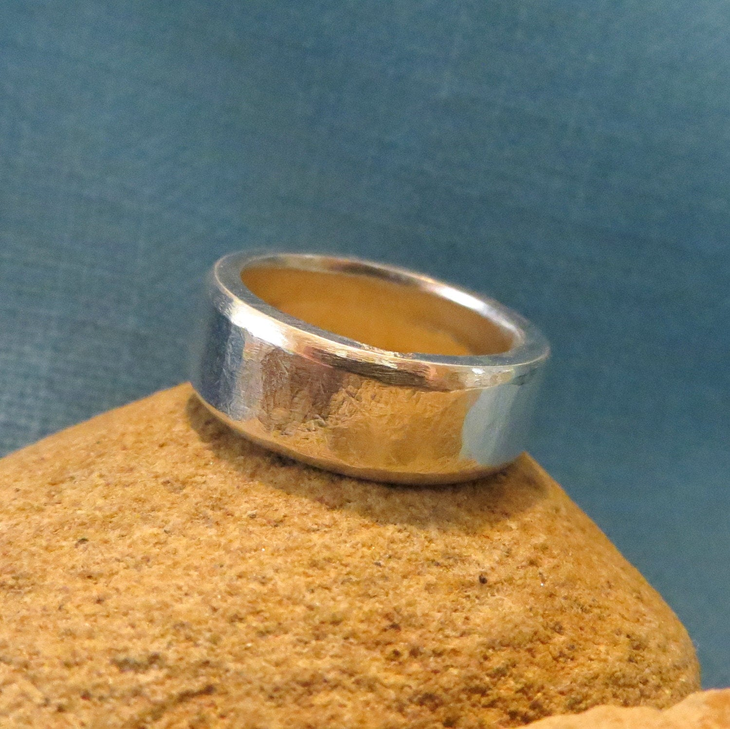 chunky wedding ring heavy silver band thick 8mm by