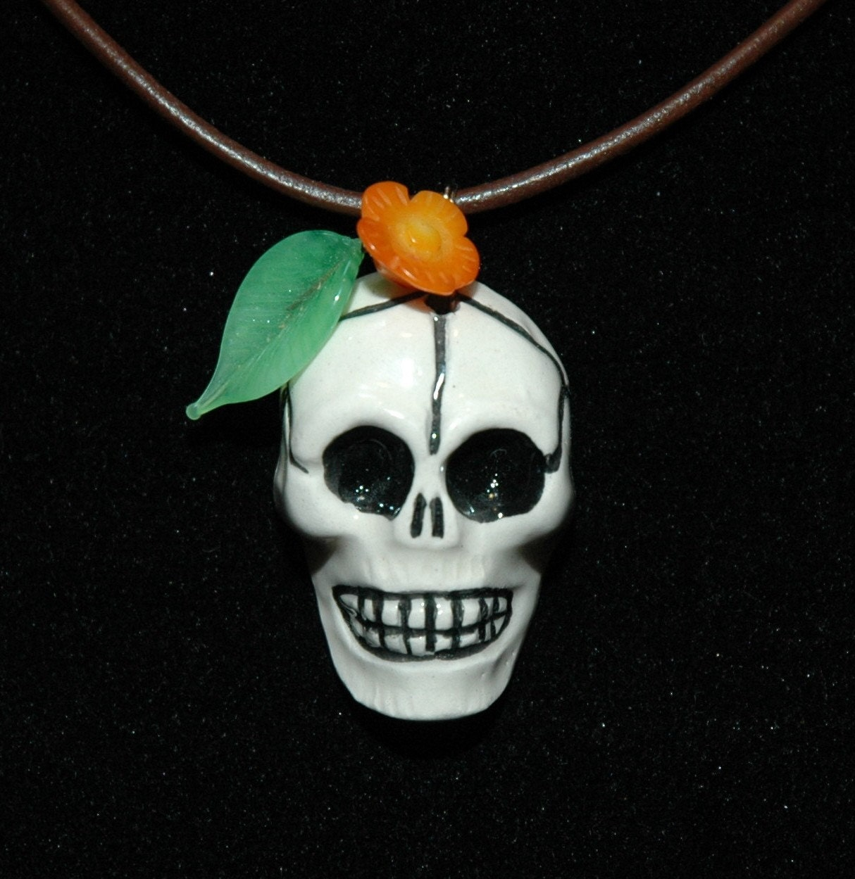 Orange Flower Muerto Necklace
