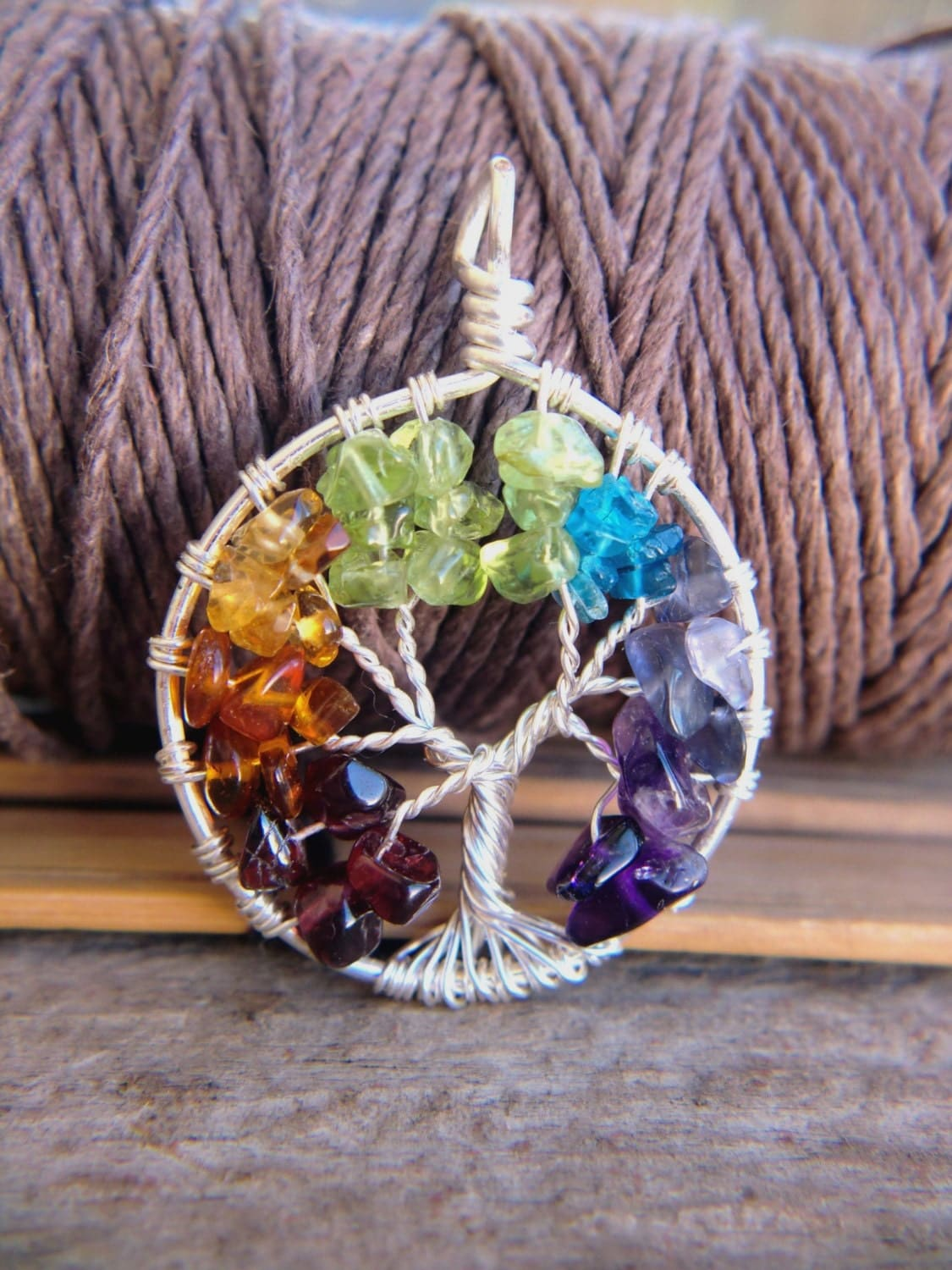 Chakra Tree of Life Pendant Silver Wire Wrapped Rainbow 7 Colors Red Orange Yellow Green Blue Indigo Purple - CaterpillarArts