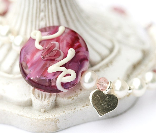 Pink bracelet Valentines day gift - LOVE heart lampwork glass bead and pearls on sterling silver
