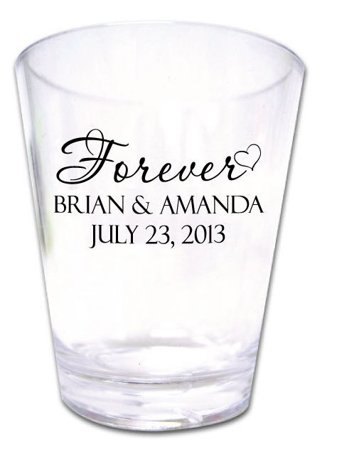 300 wedding favors personalized romantic plastic shot by With shot glasses personalized wedding favors