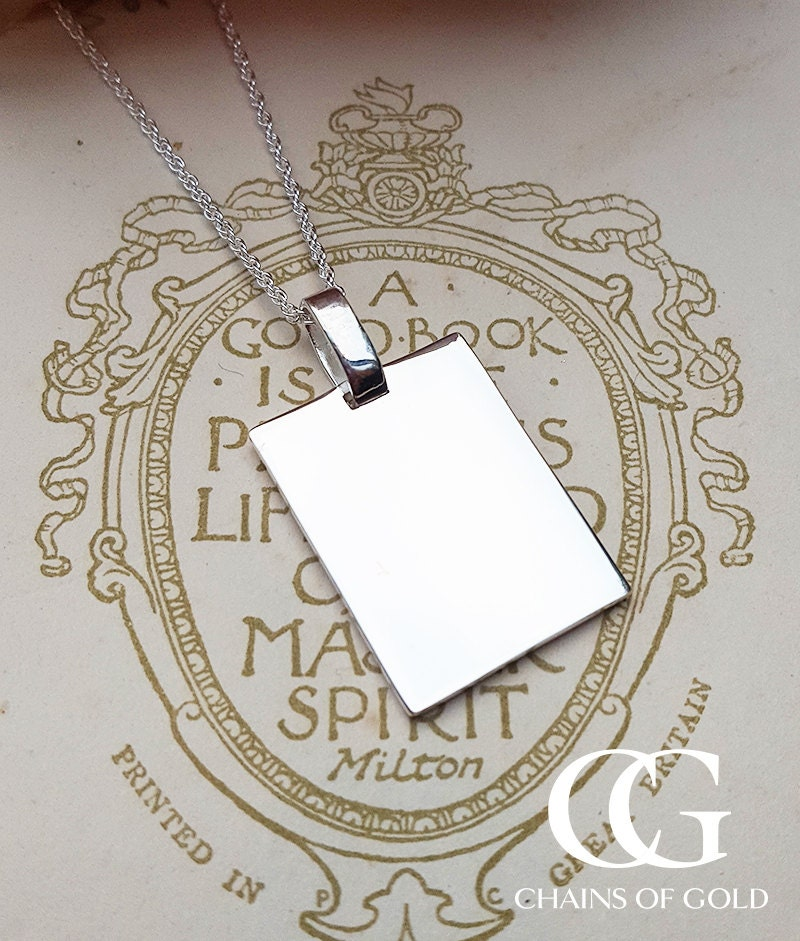 Personalised Sterling Silver Plain ID Dog Tag Necklace MENS LADIES