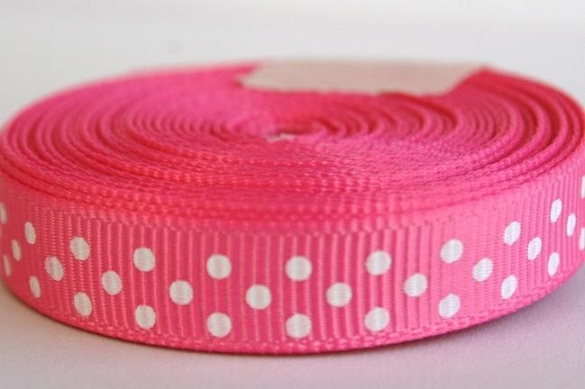 5 Yards Hot Pink with White Swiss Dots 3/8 Inch Grosgrain Ribbon