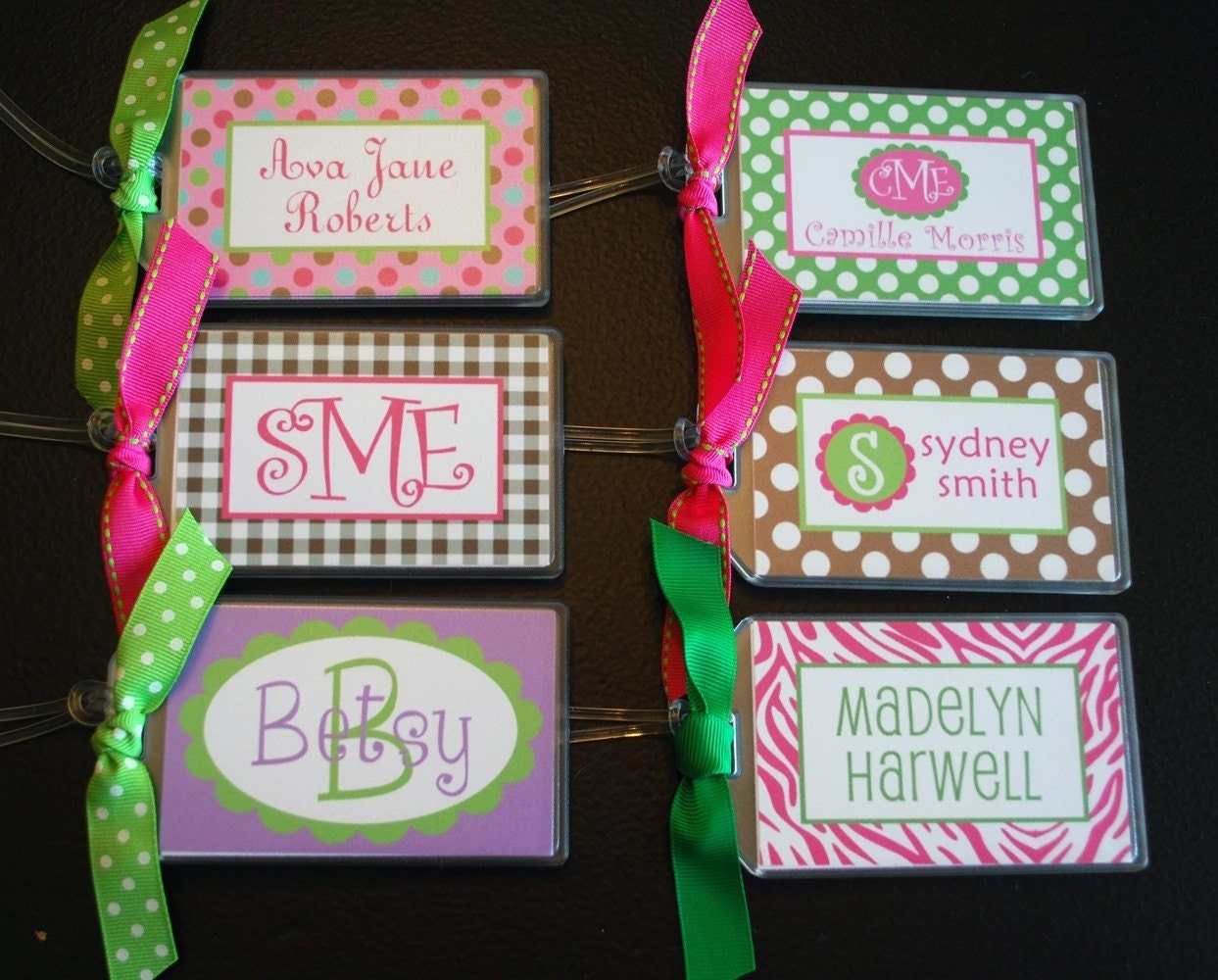 Girl Personalized Name / Monogram Bag Tag - Luggage, Backpack, Book Bag, Diaper Bag, etc - Design your own