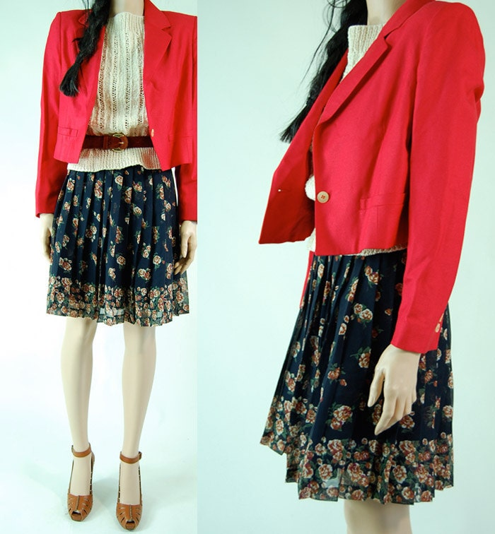 vintage 80s linen blend RED CROPPED BLAZER fitted jacket s/m