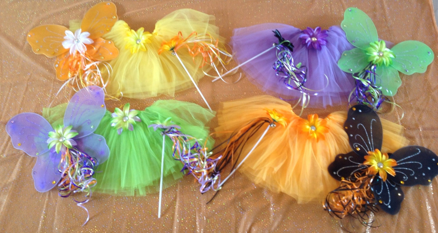 Halloween Fairy Witch Candy Corn Frankenstein Black Orange Purple and Green Wings Flower Wand Dress Up Party Favors