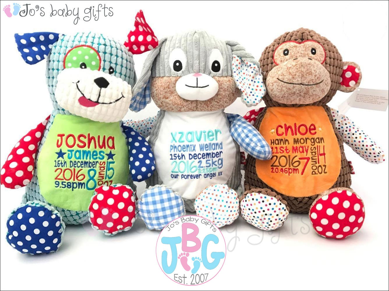 Personalised Teddy Bears Cubby teddy bear Embroidered Baby Teddy New baby gift Harlequin Cubbies