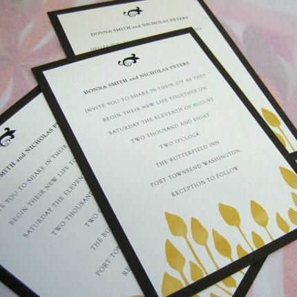 gold leafy print invitation set of 50