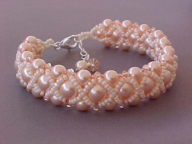 Bead Woven Swarovski Peach Pearl Bracelet