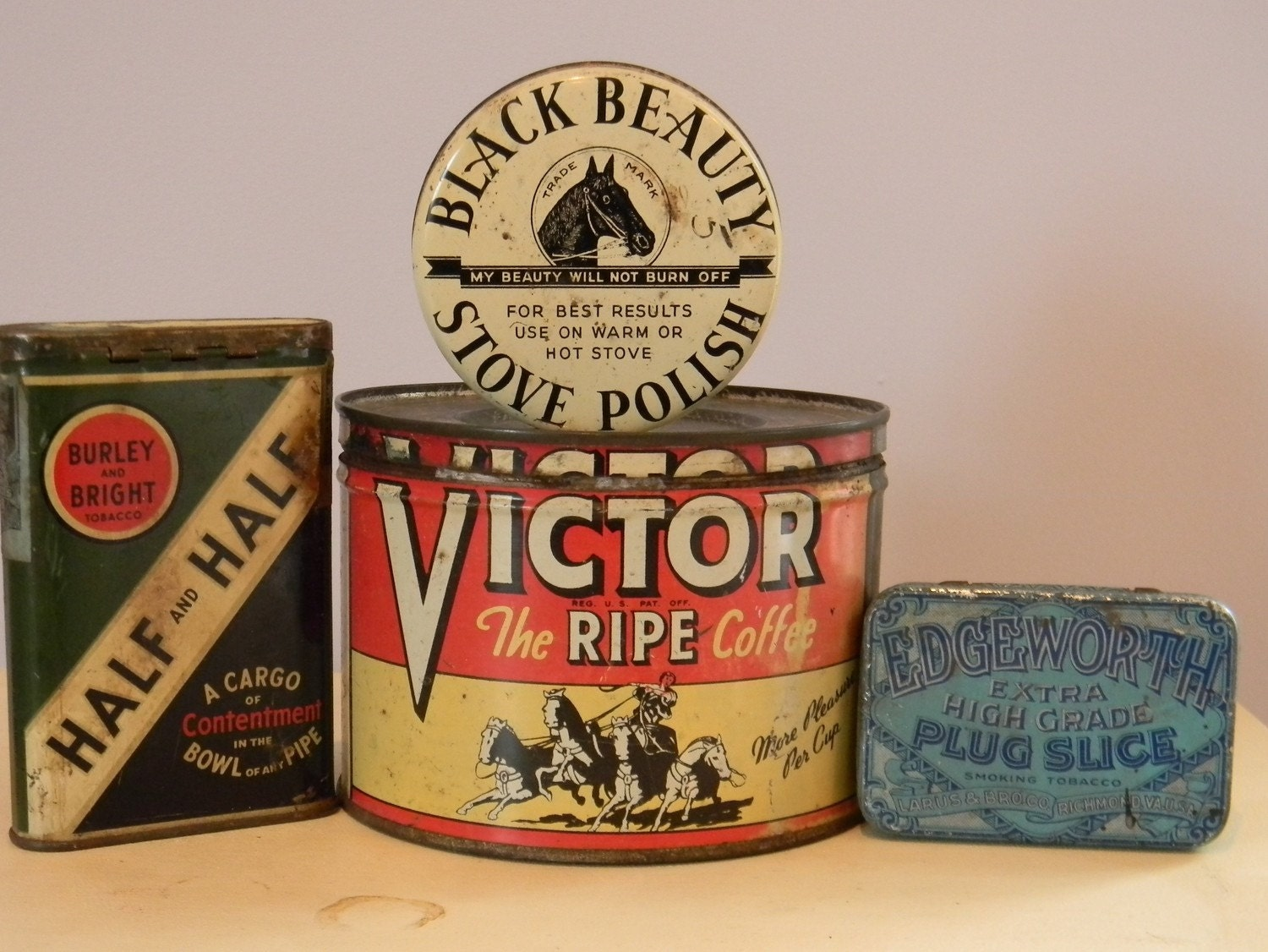 Why Not Start An Instant Advertising Collection   This Whole Shebang Of Tin  Cans For Sale At Pine Cone Vintage!