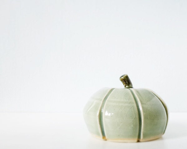 Clay pumpkin mint blue green ceramic modern Thanksgiving table home decor - thecupcakekid