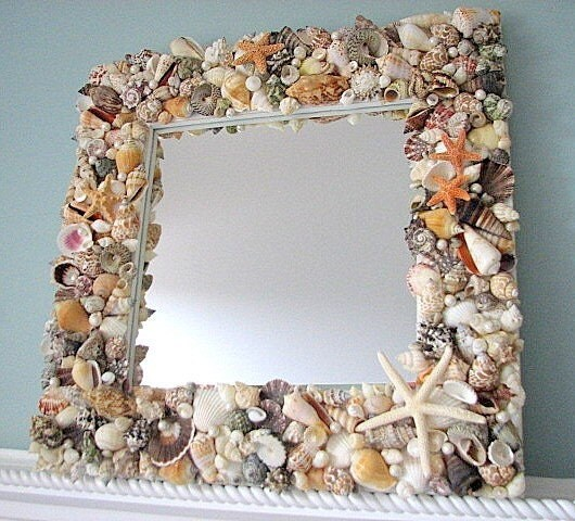 Shell Mirror Beach Decor w Natural Seashells, Starfish, & Pearls 18""