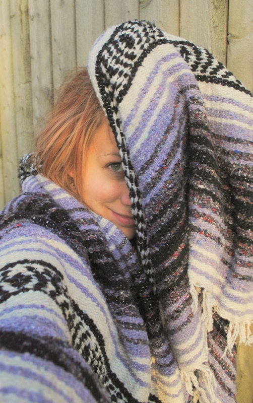 BLACK FRIDAY SPECIAL vintage indian mexican blanket lavender purple white gray rainbow mix navajo stripes