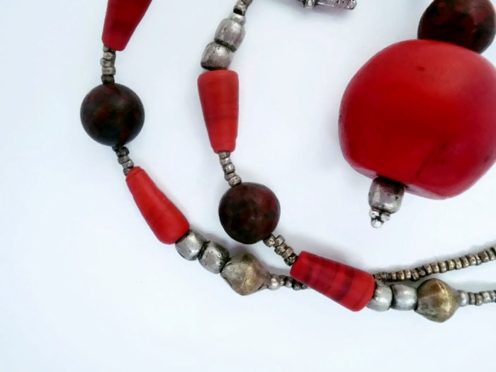 Ethnic Necklace - Vintage African Beads Bohemian Style - nicolehnl