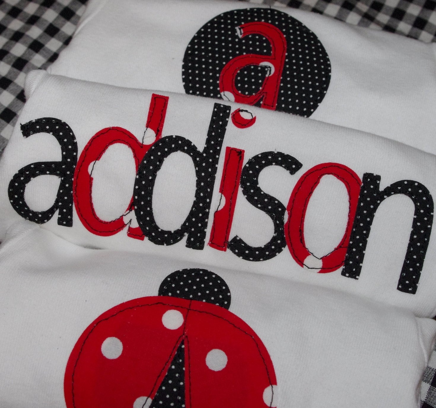 Custom set of 3 ladybug onesies-you choose size, name, and monogram letter