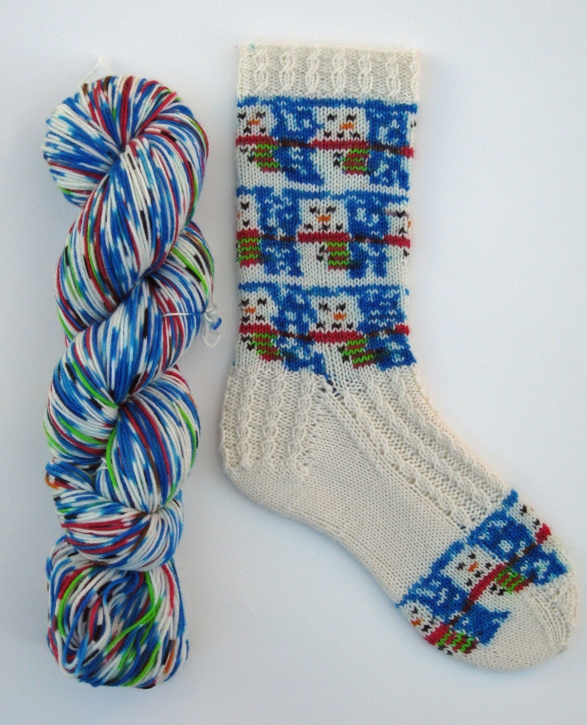 Pre-order Hand Painted Snowman self patterning and striping sock yarn - enough for 2 pairs and pattern