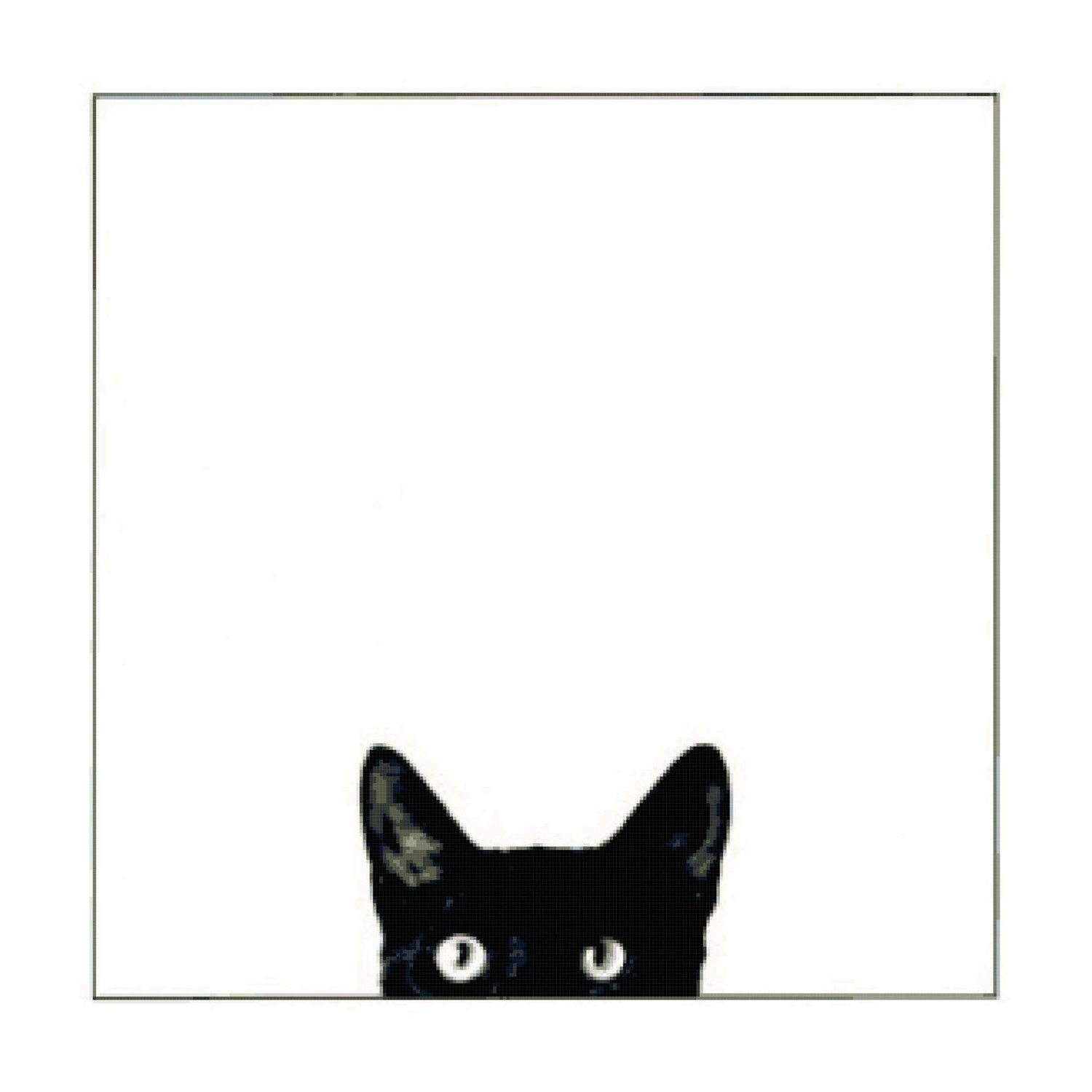 Peeking Black Cat Handmade Cross-Stitch Pattern | eBay