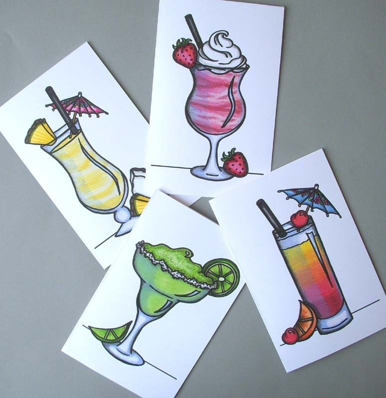 Fun Tropical Drink Note Cards - Set of 8