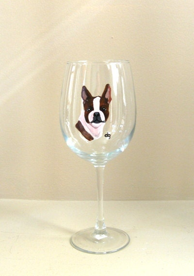 Boston terrier painted wine glass custom pet portrait by for Wine and paint boston