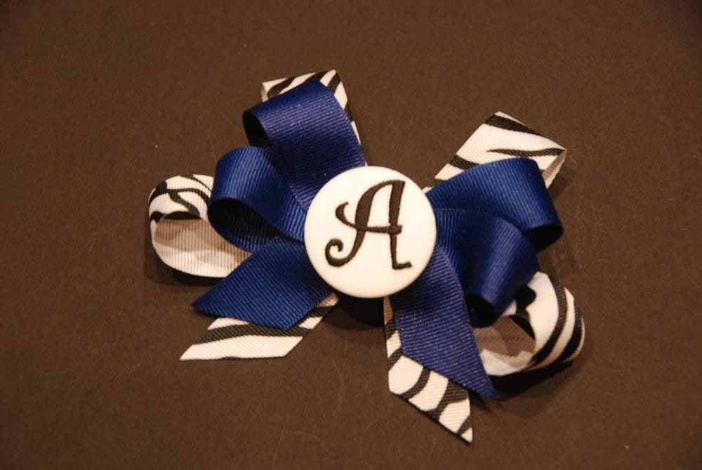 Personalized Boutique Bow - Blue and Zebra Letter A
