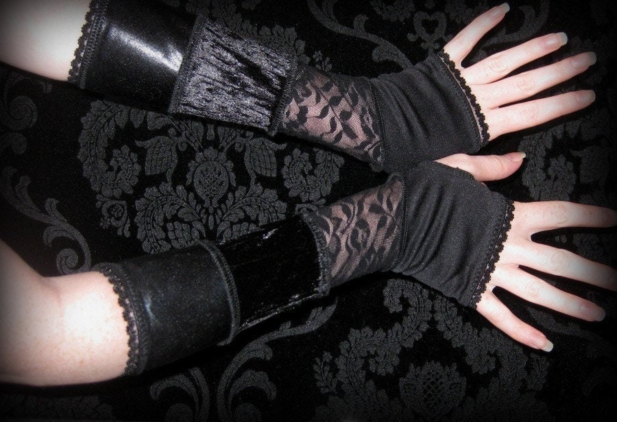 Black Lace velvet, and shiny pvc Arm Warmers gloves with thumbhole