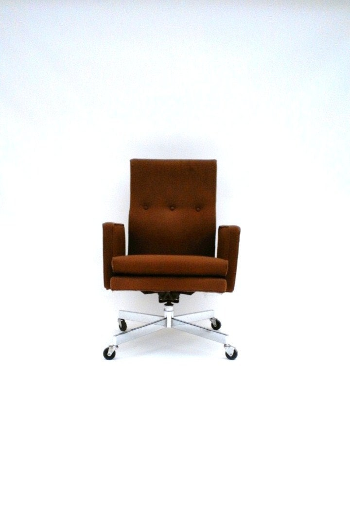 Vintage Desk Chair High Back Rolling Executive by