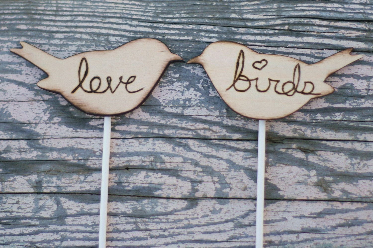 Love Birds Cupcake Cake Toppers Rustic Woodland Fall Winter Autumn Wedding Country Lake Cottage CHIC