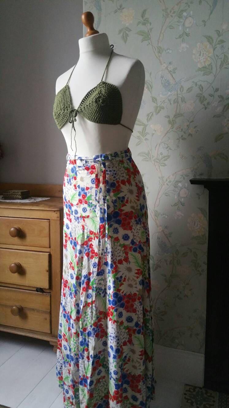 Handmade crochet bralette cropped bikini top  khaki green hippy festival boho clothing summer top 70s retro halter neck Dolly Topsy Etsy UK